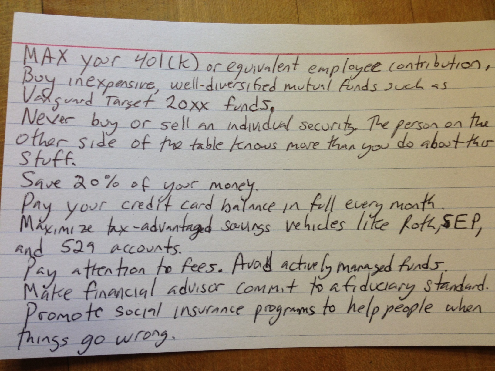 Retirement plan on an index card