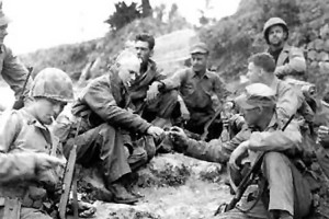 Ernie Pyle with Marines on Okinawa, 1945